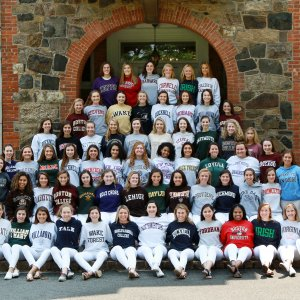 Oak Knoll Class of 2019 in their college sweatshirts.
