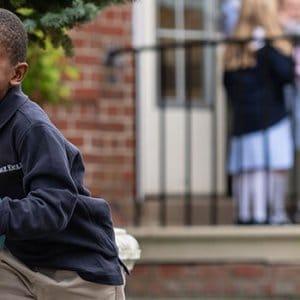 Lower School boys running during recess