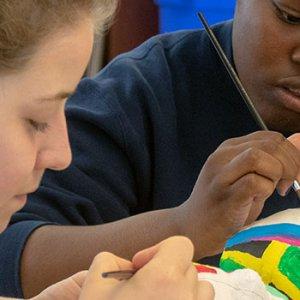 Upper School girls during art class