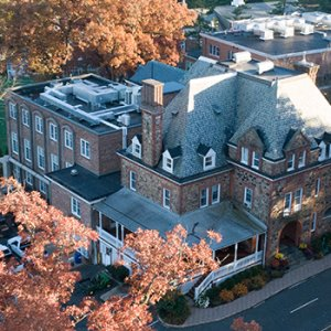 aerial picture of the oak knoll campus during the fall