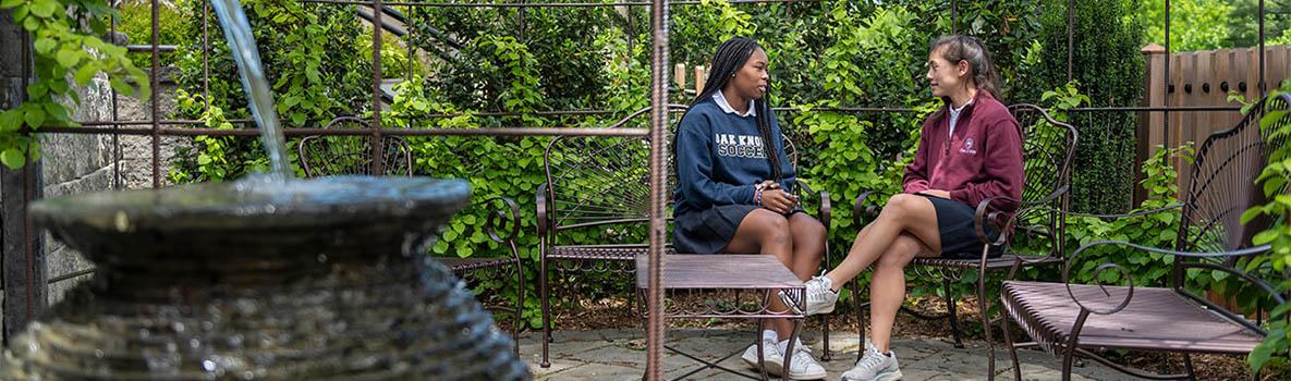 Upper School students in the Oak Knoll prayer garden