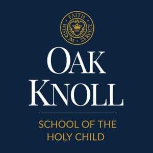 oak knoll vertical logo over navy