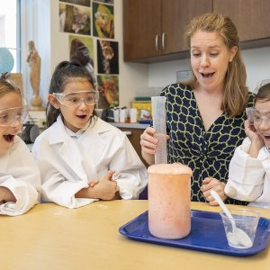 Lower School students are amazed through chemistry during science class.