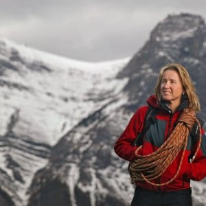 Sharon Wood pictured with Mount Everest