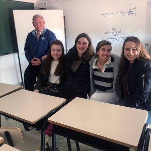 Upper School students with exchange students from france and spain