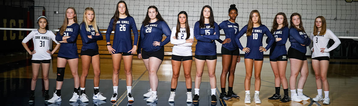 oak knoll 2019-20 volleyball team poses for team photo