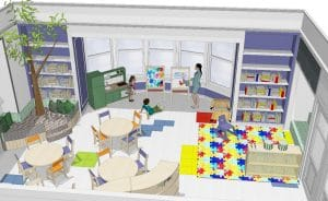 A rendering of the future pre-K room at Oak Knoll School of the Holy Child in Summit, NJ