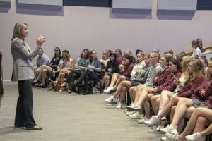 Sharon Wood, first North American woman to climb Mount Everest, speaks to students