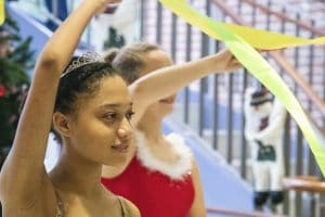 Two dancers perform with ballet ribbon
