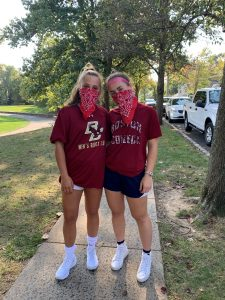 oak knoll senior soccer players organize red bandanna run for charity.