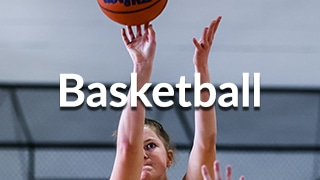 Basketball menu button showing player shooting the ball