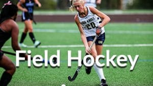 Field Hockey team menu button, includes Field Hockeyplayer image
