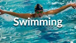 Swimming menu button showing athlete swimming